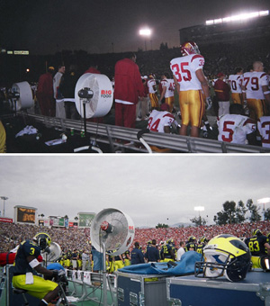 Big Fogg Misting Systems were behind the bench for both national championship winners (USC & LSU) at the 2004 Rose & Sugar Bowl
