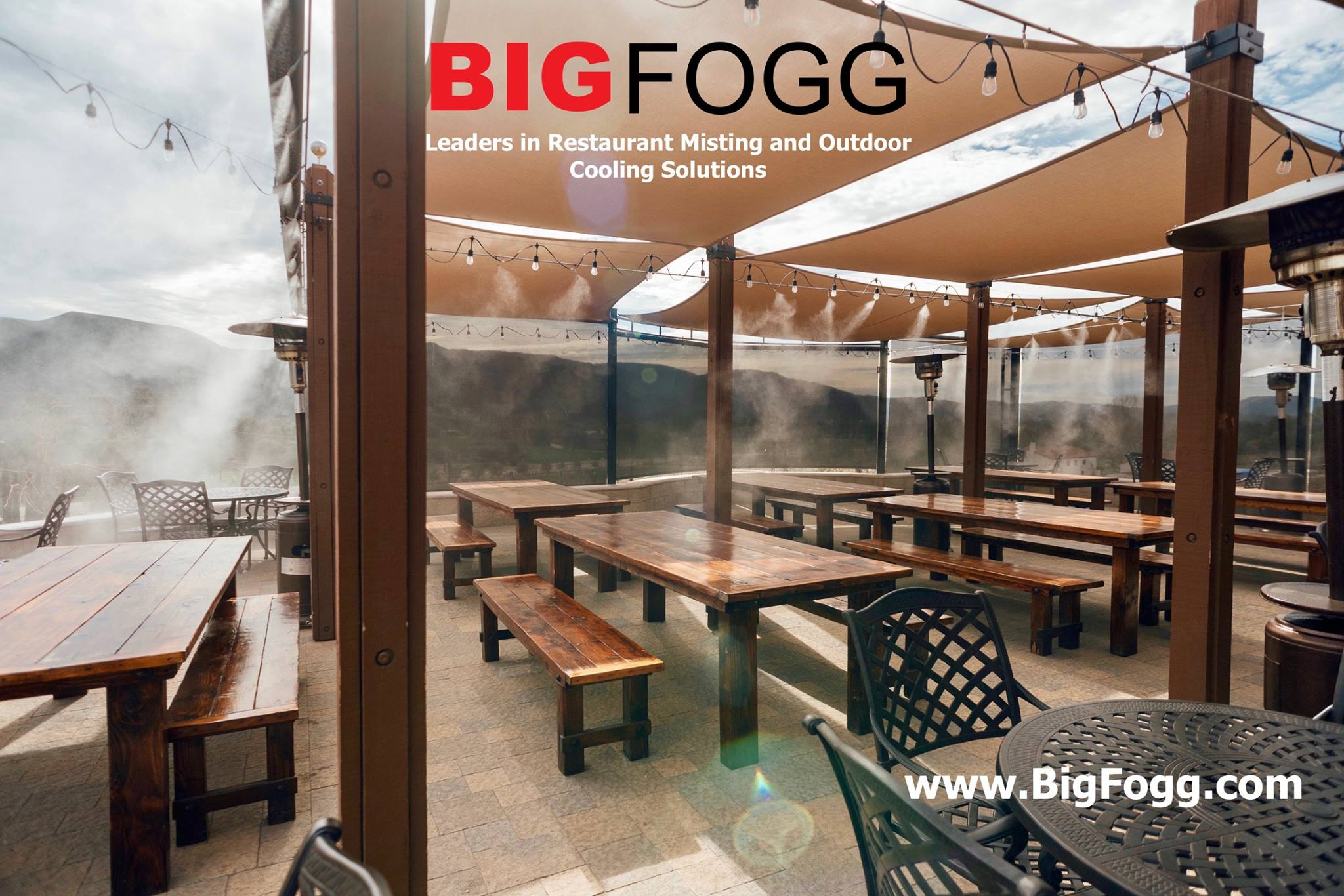stainless steel patio misting system around restaurant tables with tents, Restaurant misting and outdoor cooling solutions