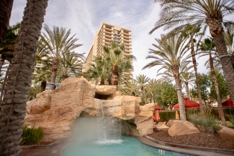 misting systems installed on the resort pool and artificial waterfall