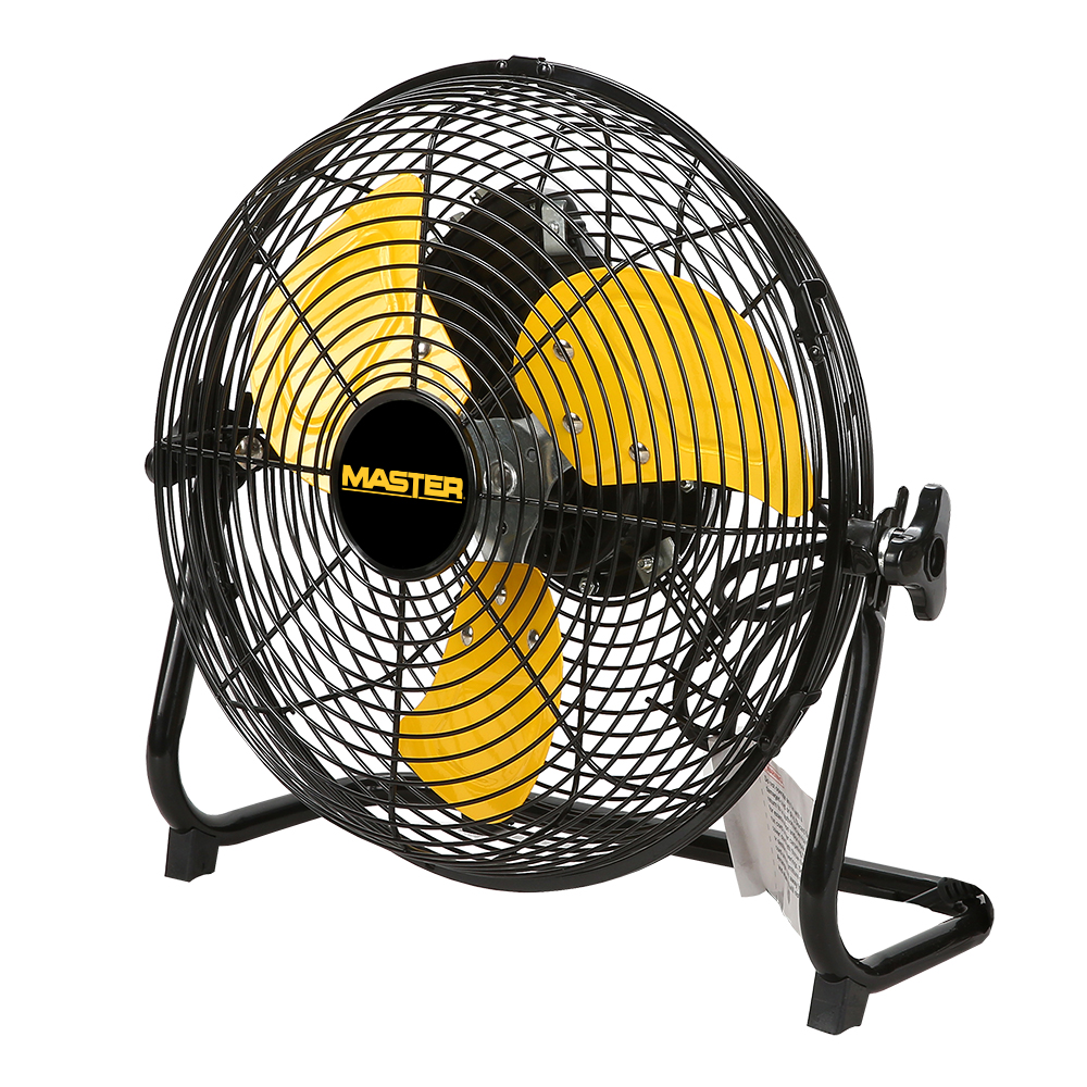 """12"""" Master High Velocity Direct Drive Floor-High Velocity Fan with three yellow blades"""