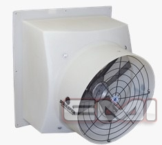 """side view of white 16"""" Direct Drive Poly Exhaust, Poly Shutter"""