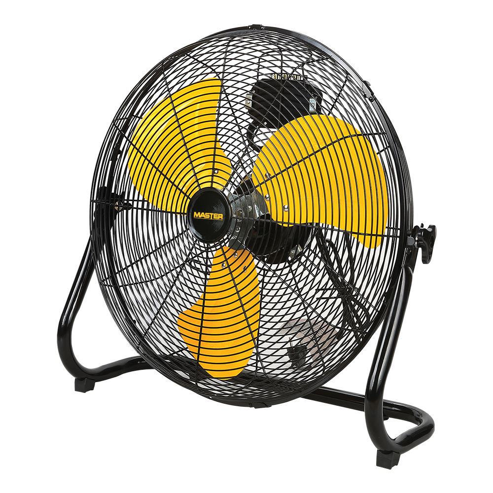 """side view of 20"""" Master High Velocity Direct Drive Floor Fan-High Velocity with 3 yellow blades"""