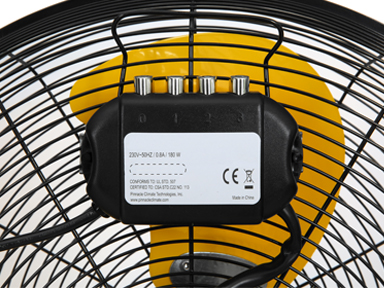 """Warning lable for black 20"""" Master High Velocity Direct Drive Floor Fan-High Velocity"""