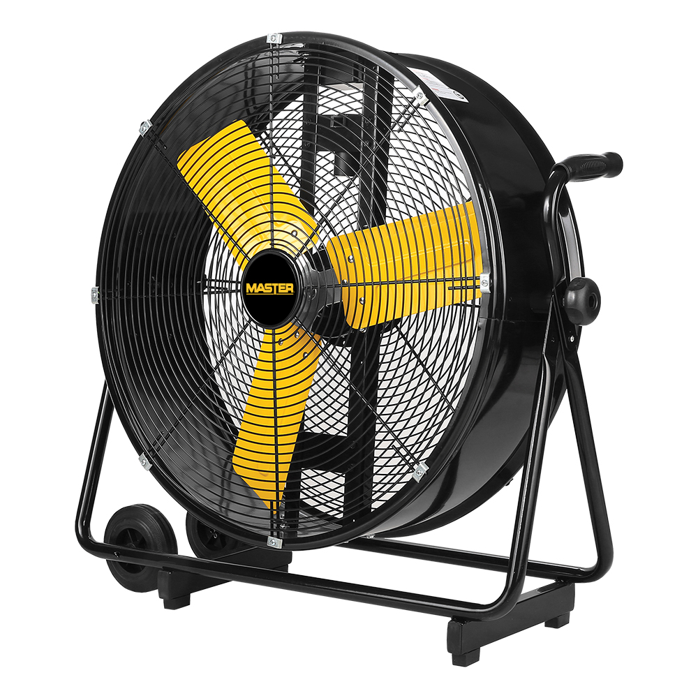 """side view of 24"""" High Velocity Tillable Direct Drive Barrell Fan with 3 yellow blades"""