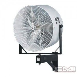 "Front view of white 36"" Versa-Kool Wall Mounted Oscillating Fan"