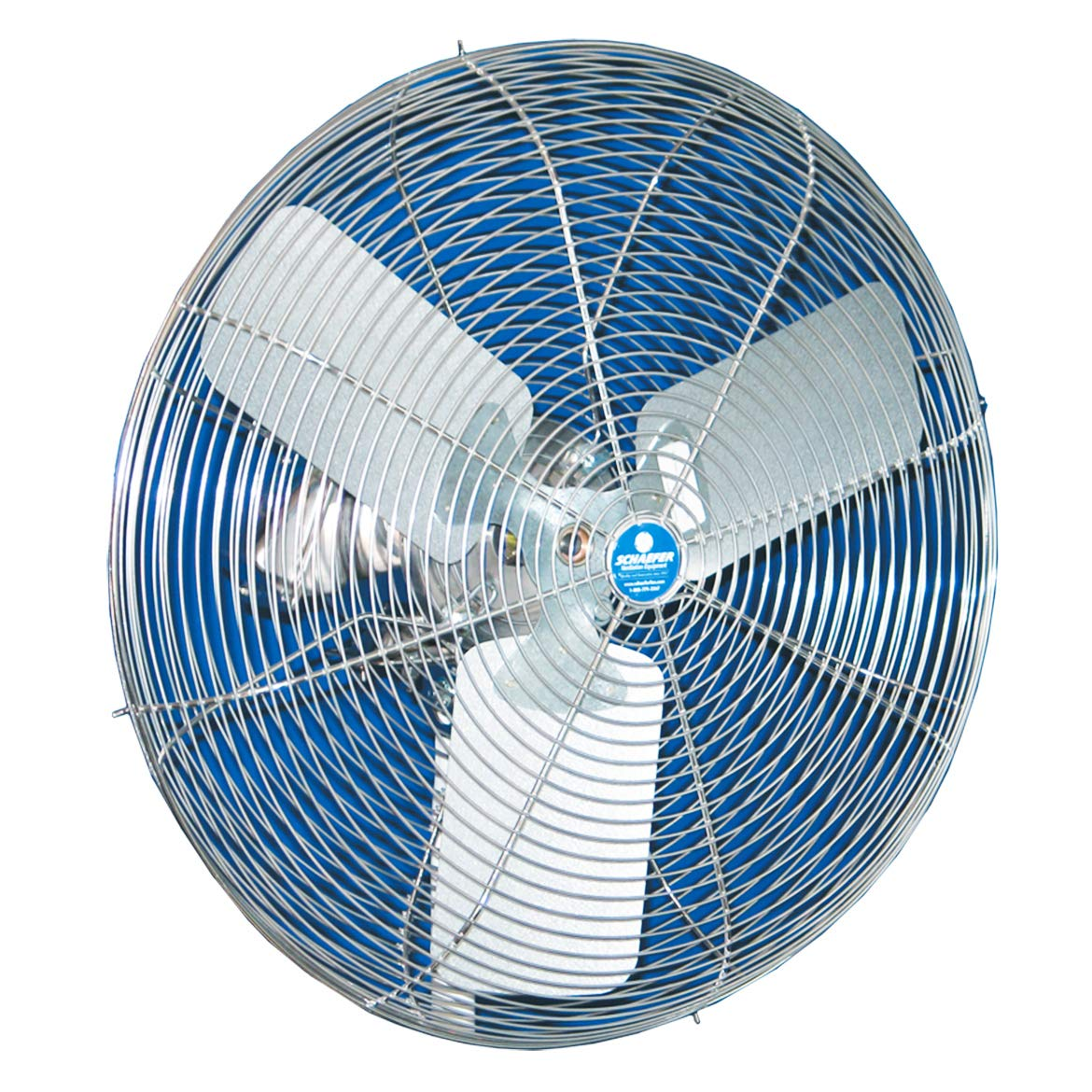 """blue colored 20"""" Stainless Duty Free ¼ HO, Stainless Steel Motor, SS OSHA Guards, Stainless Steel Blade, 3 winged"""