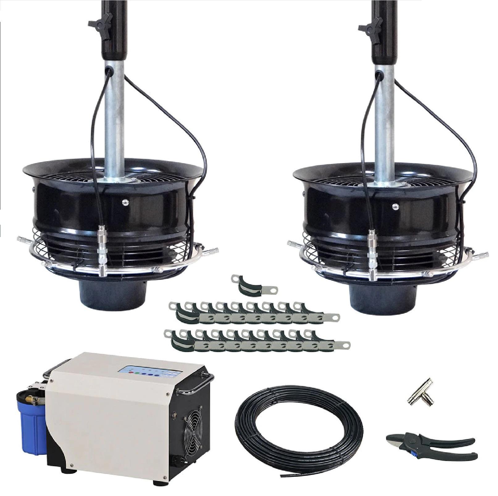 2 Ceiling Mount CentrMist Fans with 15 Nozzle Capacity Pump Package Black