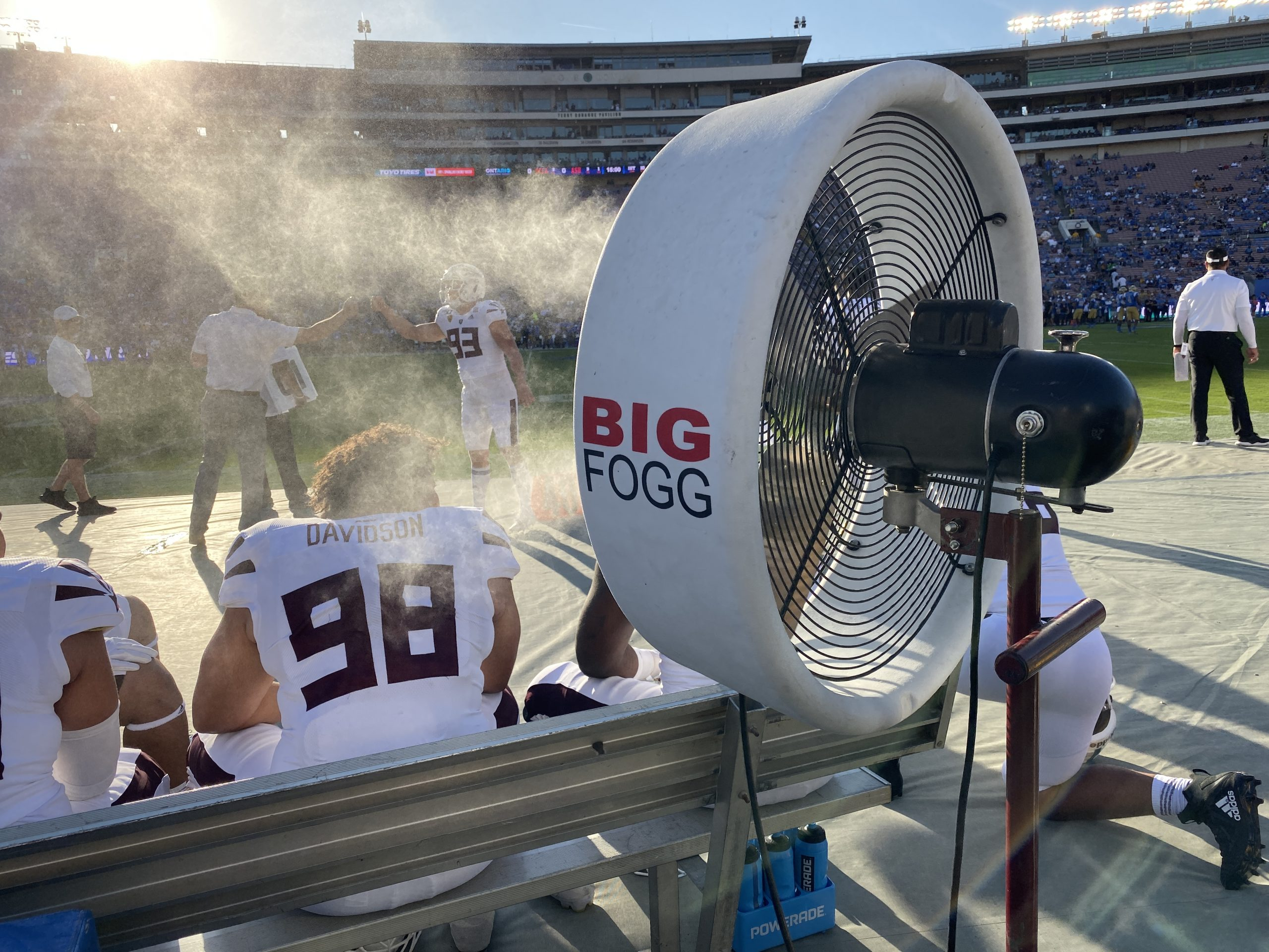 Misting Fans cooling football players in the stadium