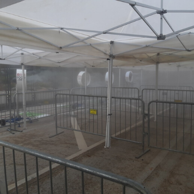 Big Fogg Portable Misting Fans at work under the campaign tents.