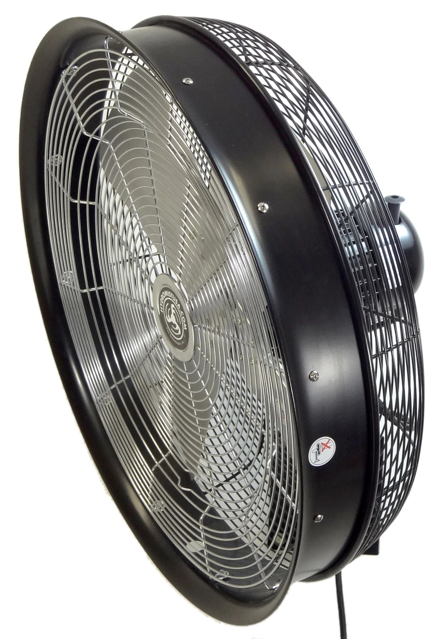 side view of black 24 Inch Shrouded Ocscillating Outdoor Indoor Fan