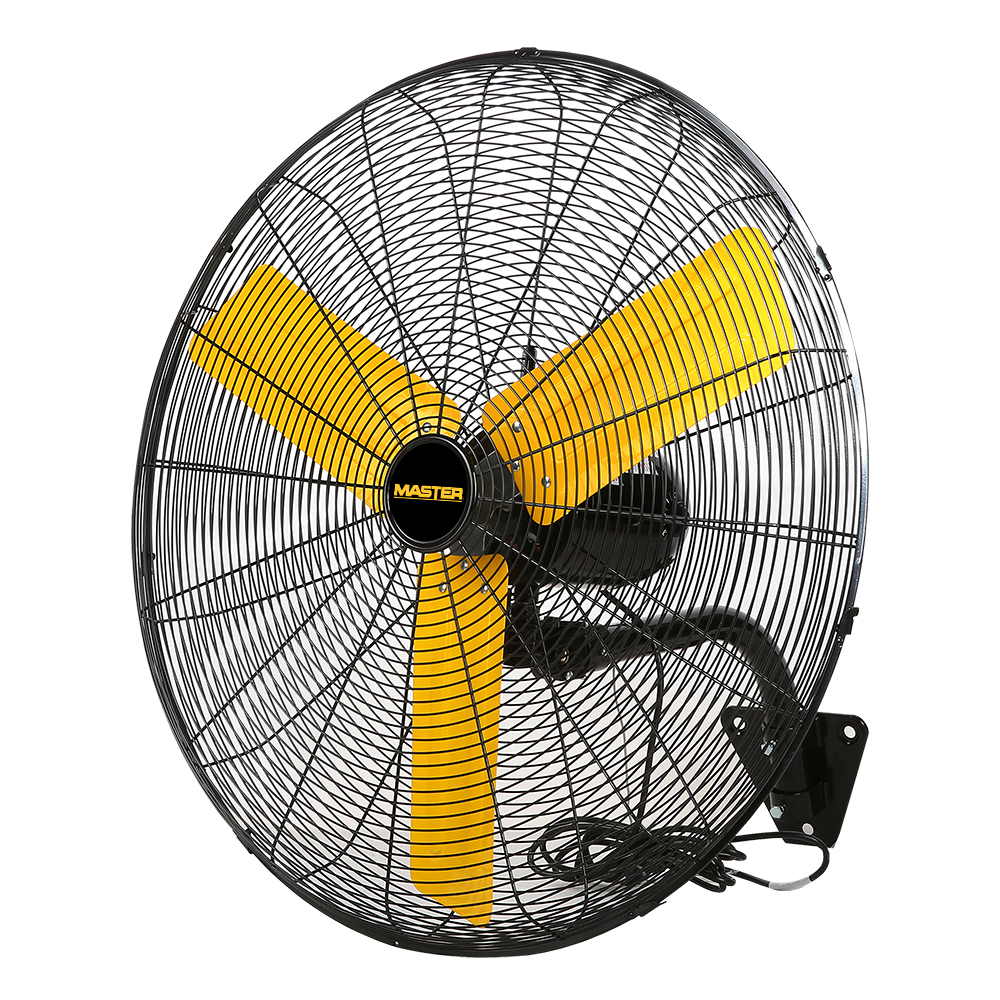 """side view of yellow bladed black colored 24"""" Master Industrial Wall Mount Fan"""