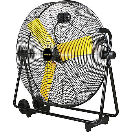 """side view of 30"""" High Velocity High Velocity Floor Fan with 3 yellow blades"""