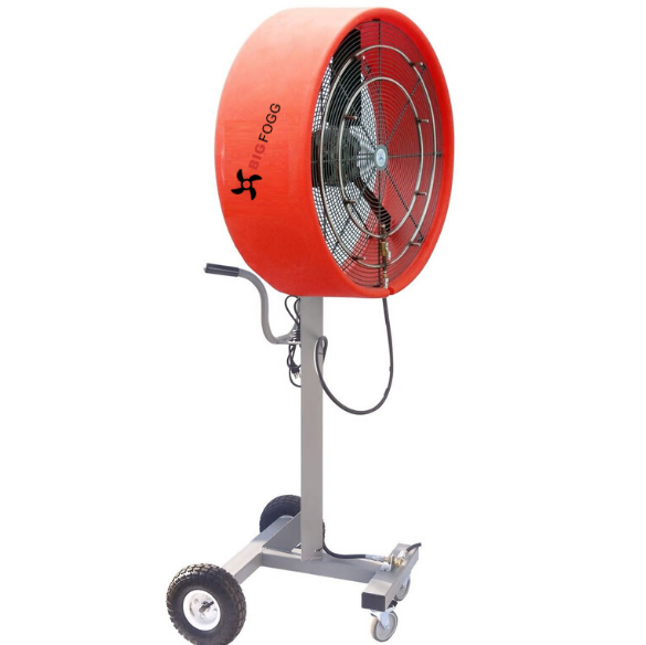 """side view of red coloured 30″ """"Work Zone"""" Misting Fan"""