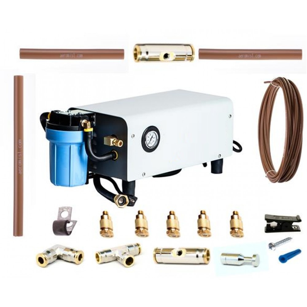 Complete set of Mid-Pressure Nylon Misting System with pipes, fixtures and pump