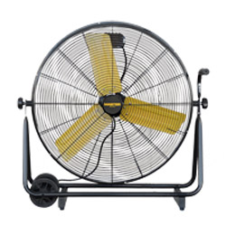 """Front view of 30"""" Master High Capacity Direct Drive Barrel Fan with 3 yellow blades"""