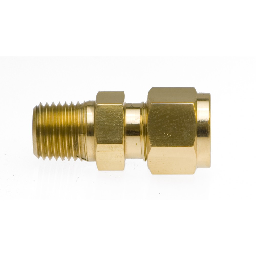 """front view of Brass Male Adapter 3/8"""" X 1/4"""""""