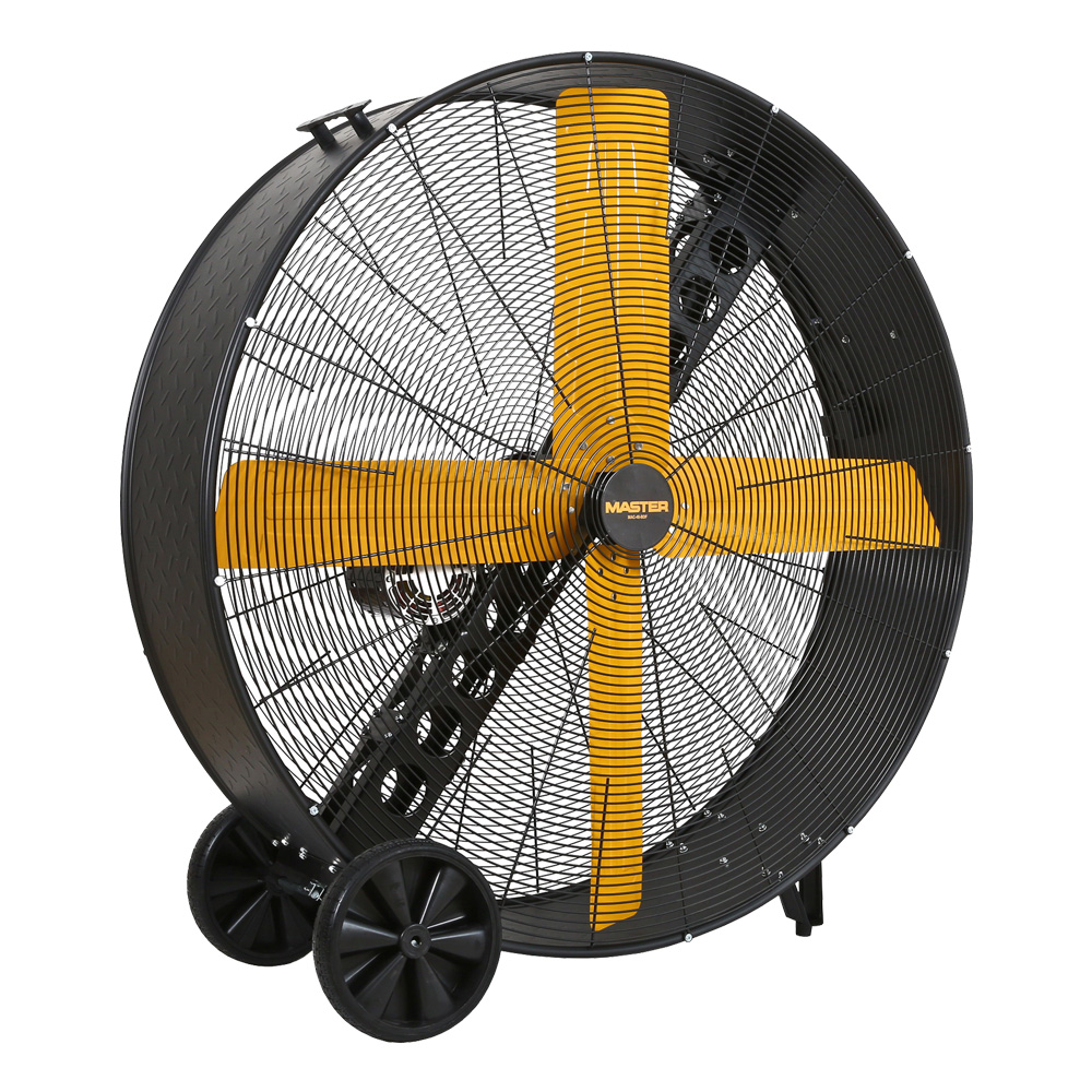 """front view of 48"""" Master High Capacity Belt Driven Barrell Fan with 4 yellow blades"""