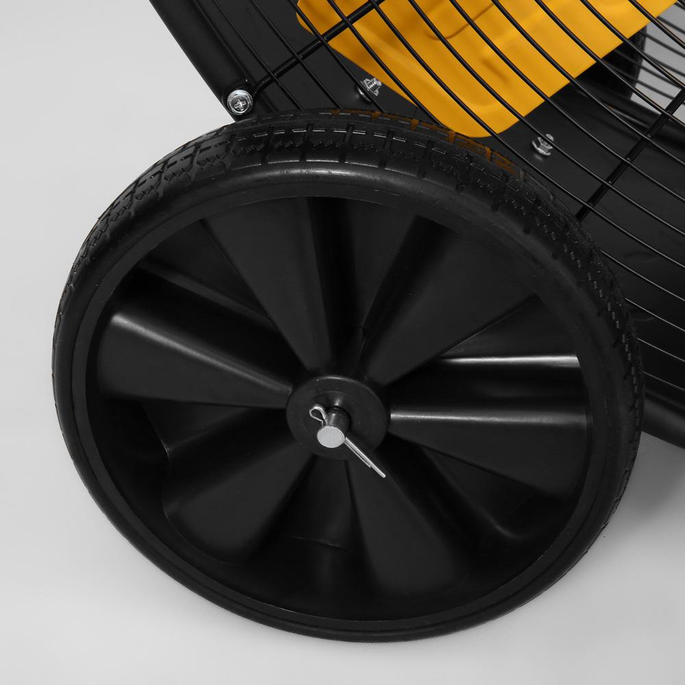 "Closeup of wheels for 48"" Master High Capacity Belt Driven Barrell Fan"