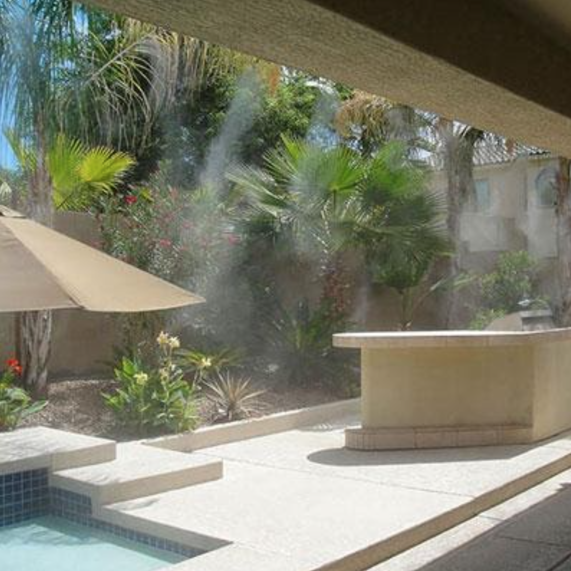 Custom residential misting system in backyard