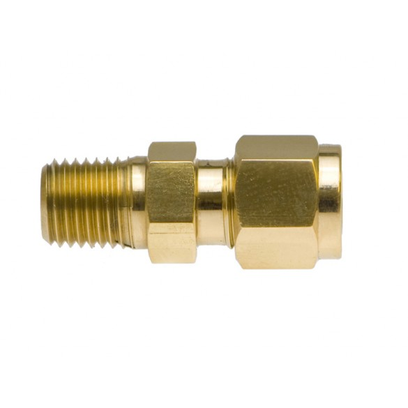 """front view of Brass Male Adapter 3/8"""" x 3/8"""" Compression"""