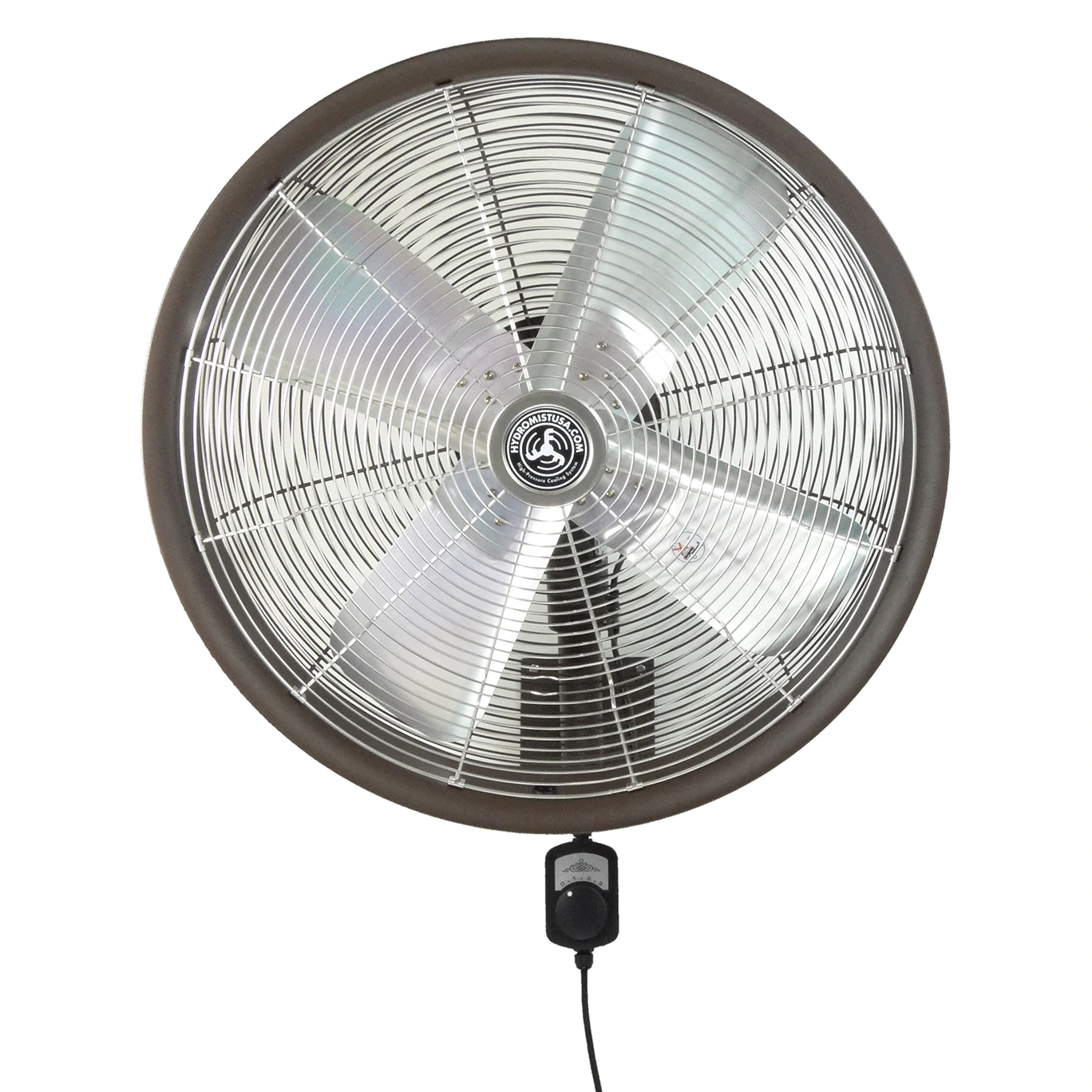 24 inch brown shrouded outdoor wall mount oscillating fan with 4 blades