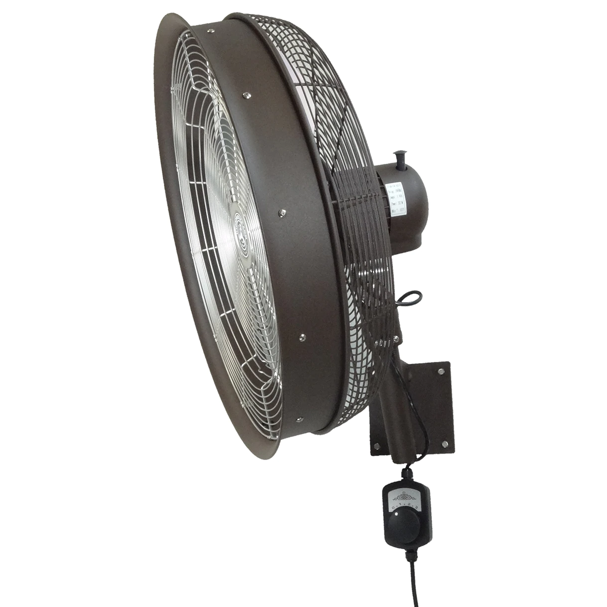 24 Inch Textured Brown Shrouded Outdoor Wall Mount Oscillating Fan 3-Speed Control on Cord