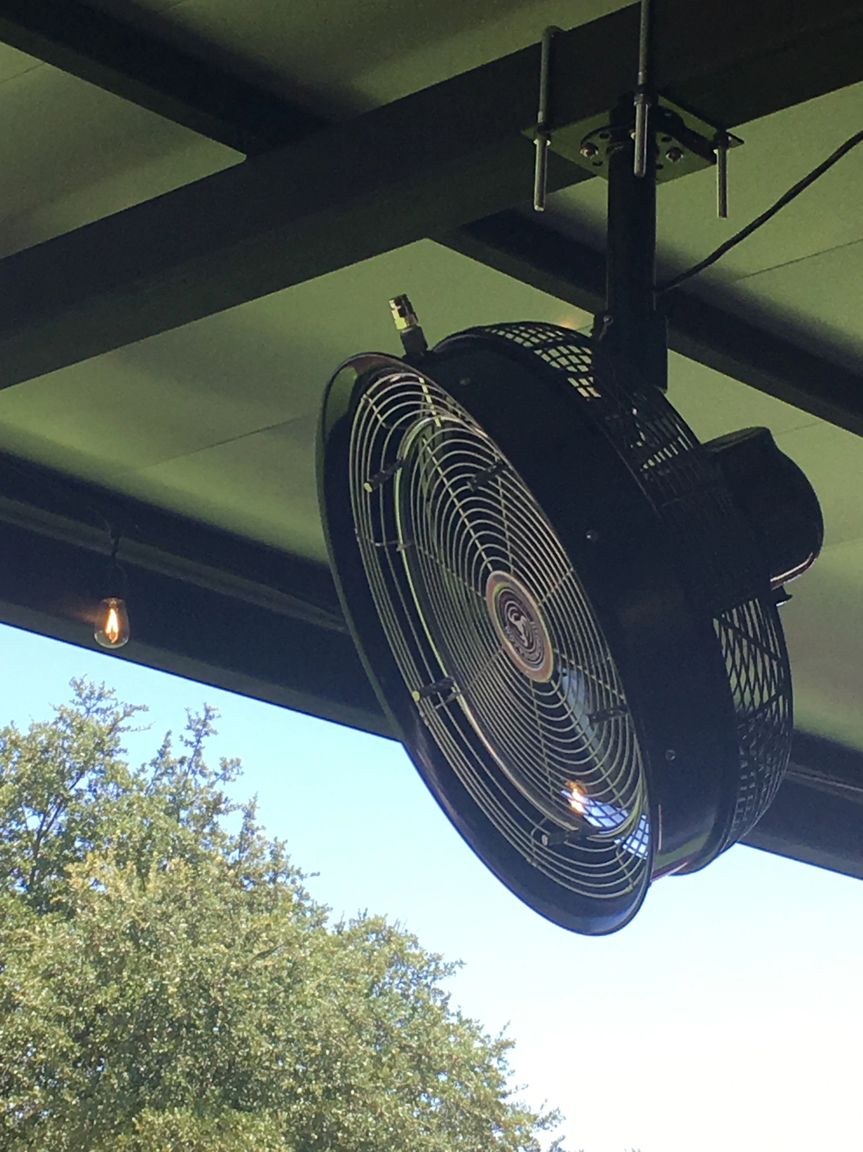 A professional series fan mounted on a ceiling