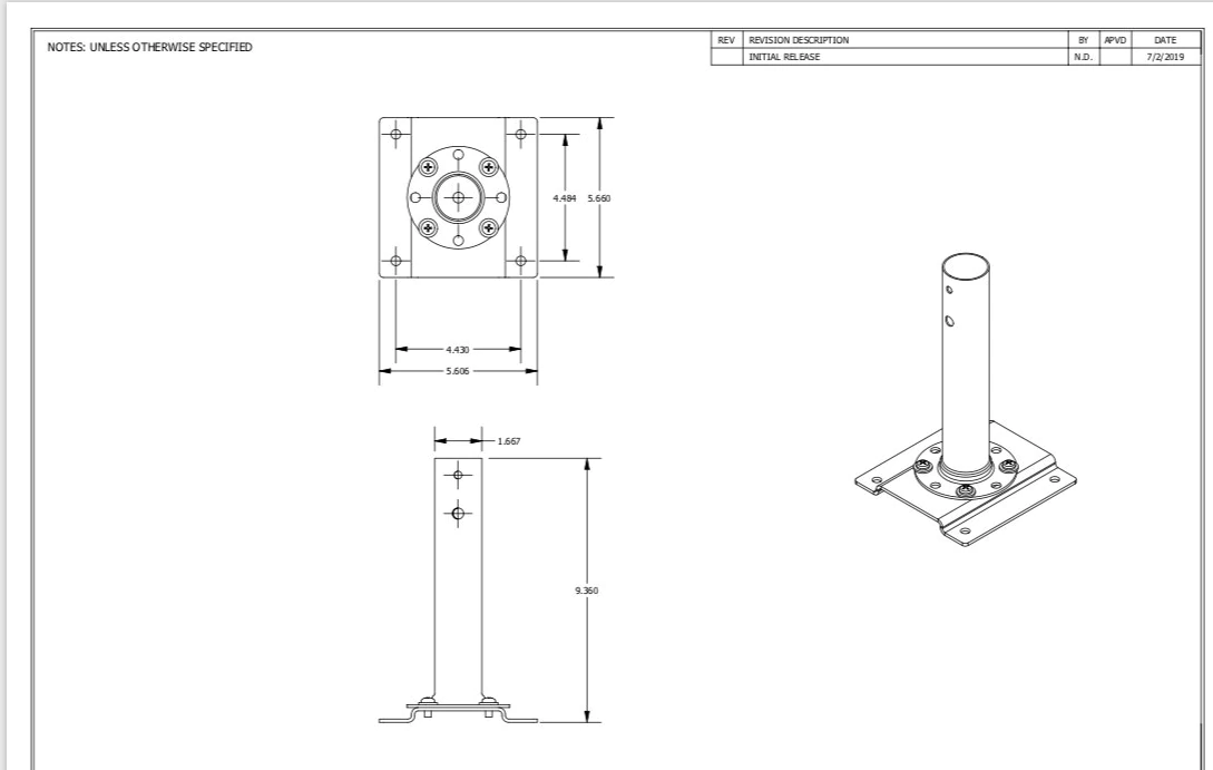 Figure depicting the dimentions of Ceiling mount for professional series fan