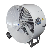 side view of 24: Versa-Kool Mobile Spot Cooler, 2-speed, OSHA Guards white in color