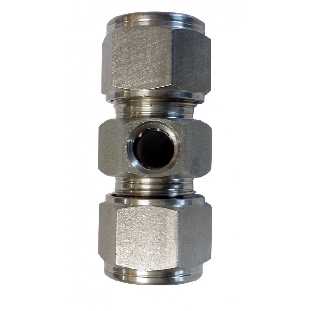 """top view of stainless steel 1/2"""" Branch Union 1 - Outlet 1/4"""" NPT"""