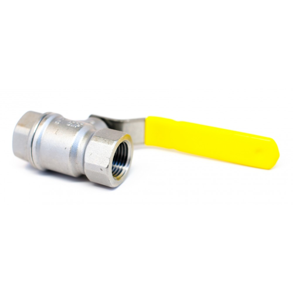 """Side view of S.S. Ball Valve 1/2"""" with yellow handle"""