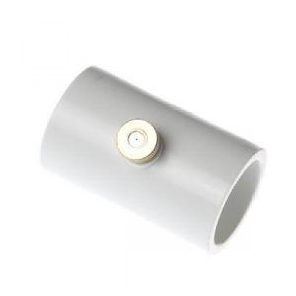 One peice of white coloured 1/2 In. PVC Coupling With Nozzle