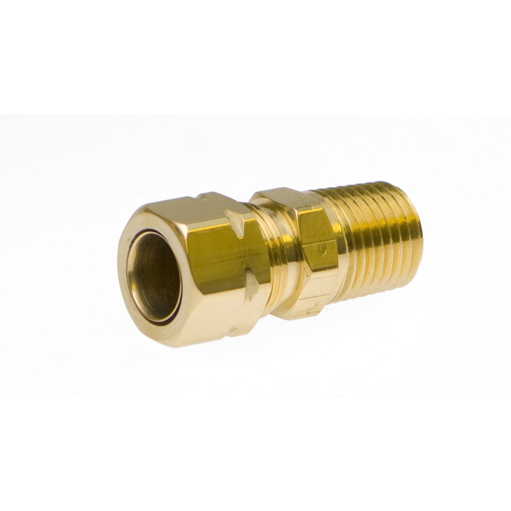 """side view of Brass Male Adapter 3/8"""" X 1/4"""""""