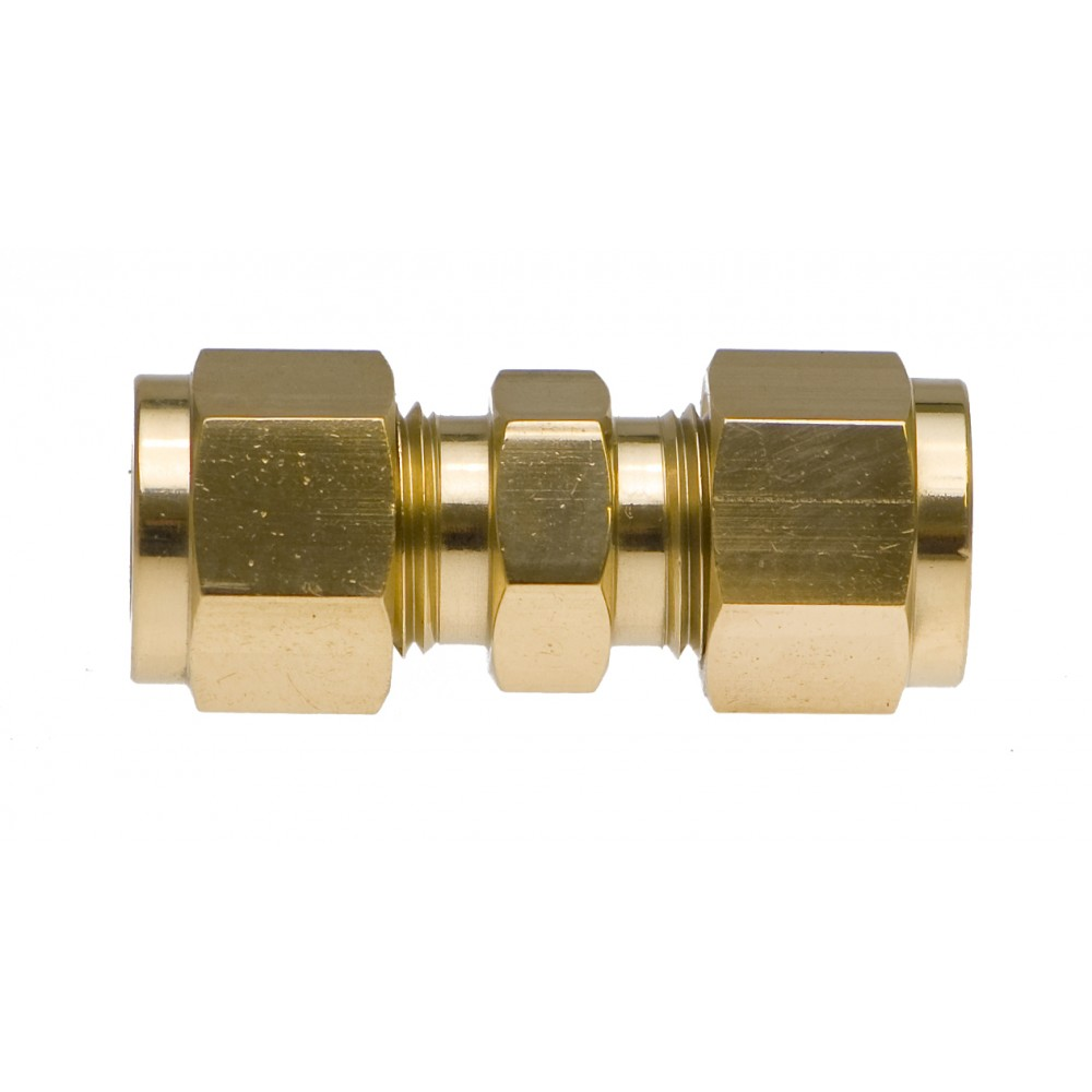 """Front view of Brass Union 1/2"""" with nuts"""