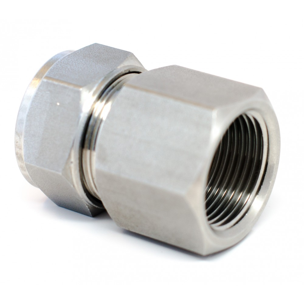 """side view of stainless steel S.S Female Adapter 1/2"""" Tube x 3/8"""" FNPT"""