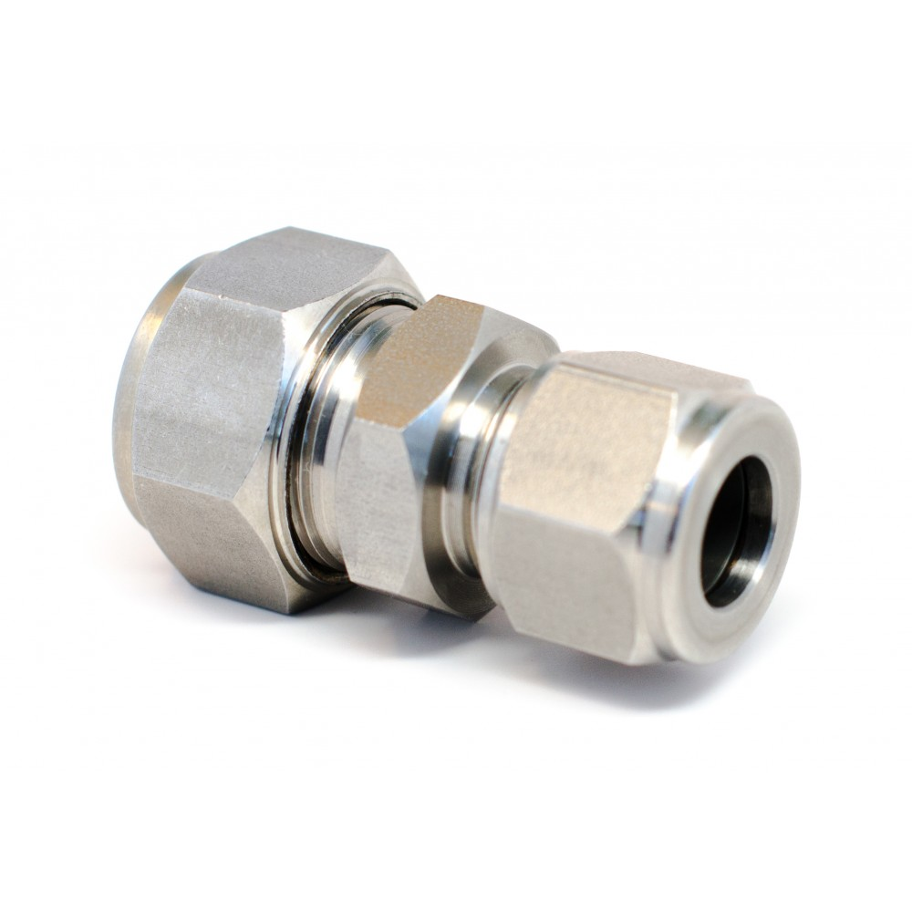 """side view of stainless steel S.S. Reducing Union 1/2""""x 3/8"""""""