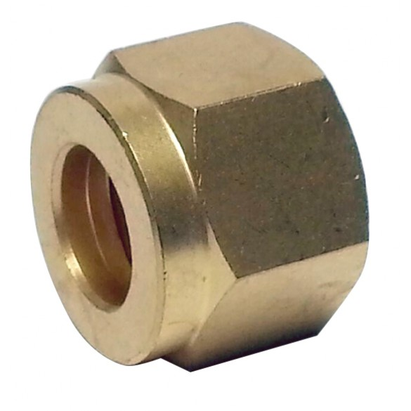 """Side view of Brass Compression Nut 1/4"""""""