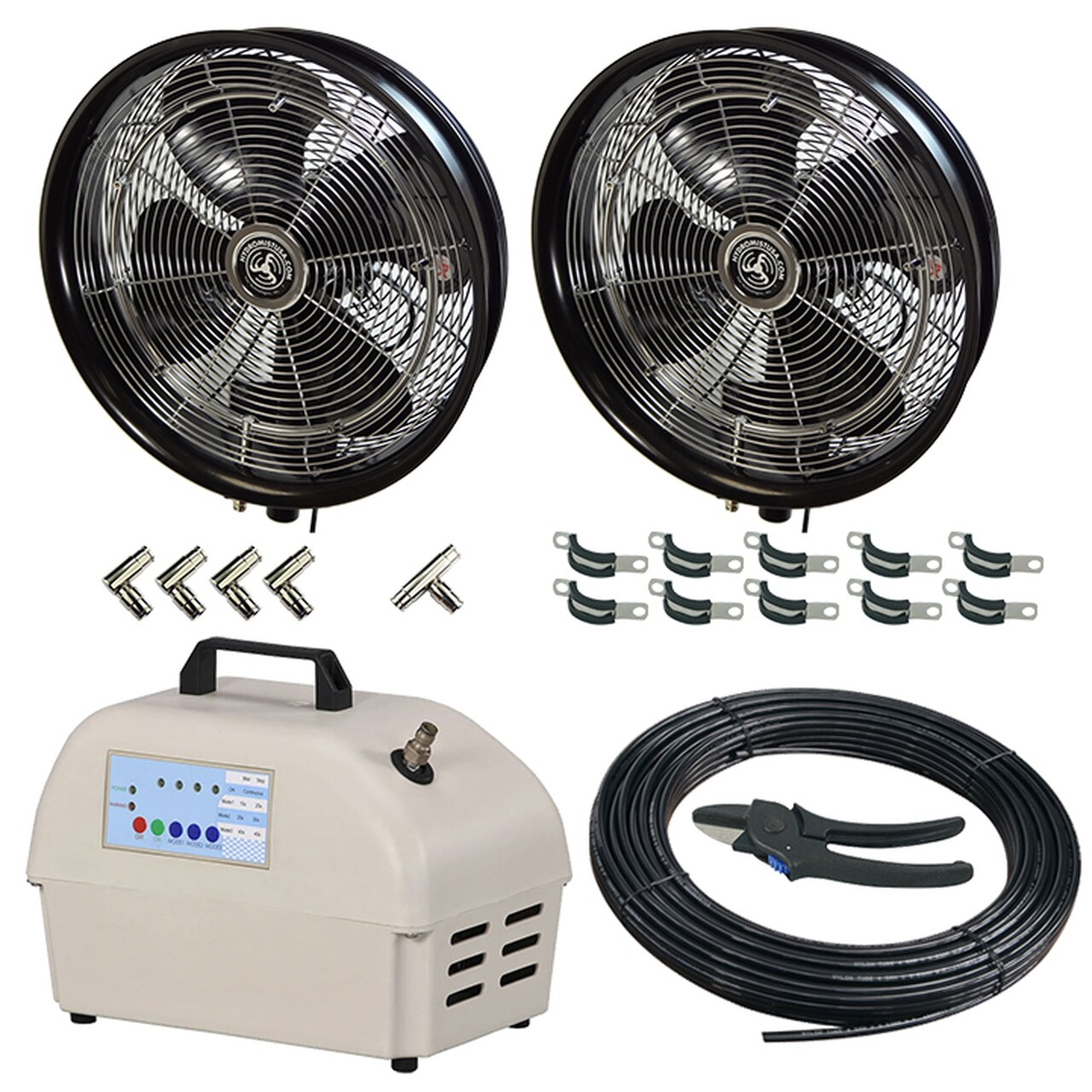 2 misting fan package (black) along with 1 nylon hose cutter, 4- elbow connectors, 10 hose clamps , 1 Tee Coupler pump,