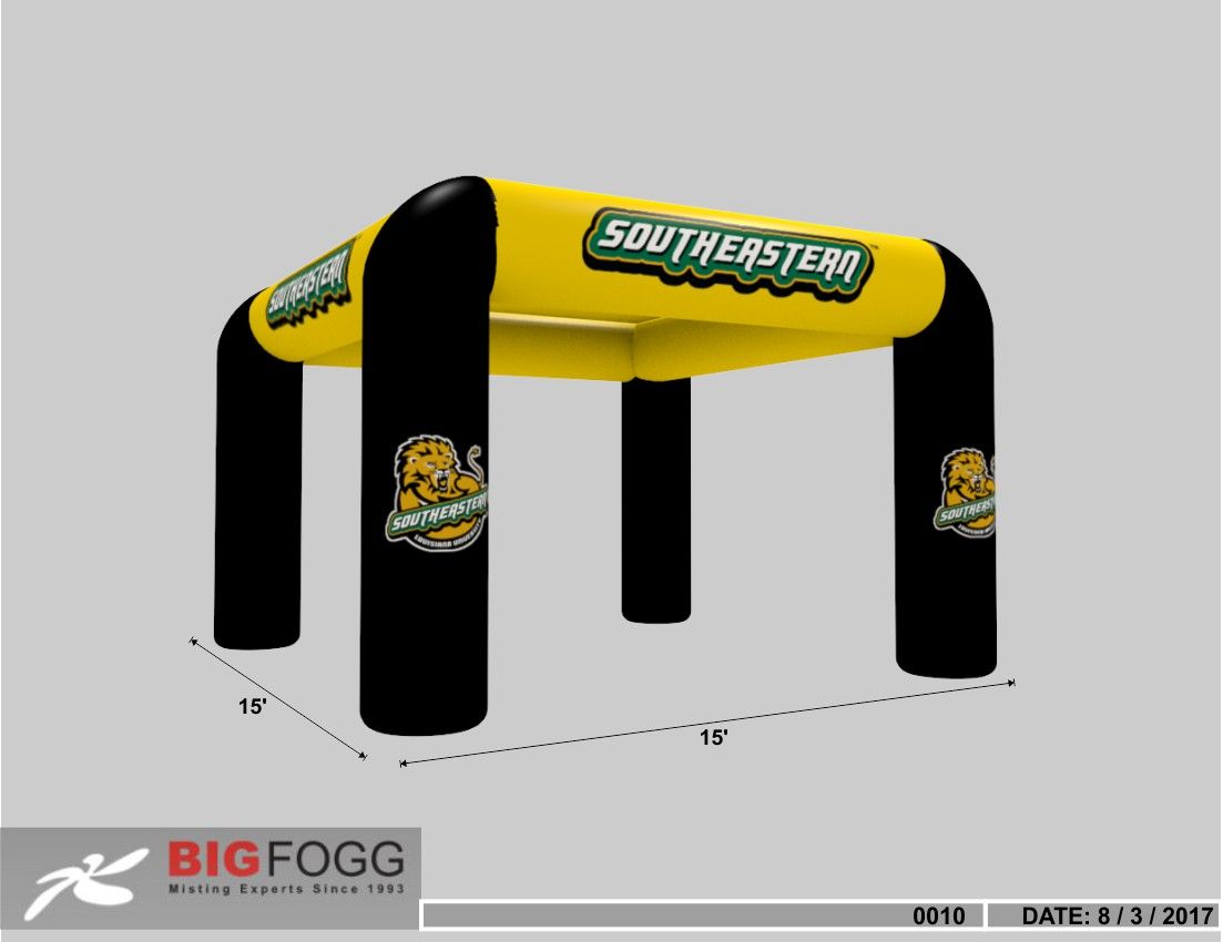 15' X 15' misting inflatable in yellow - black color